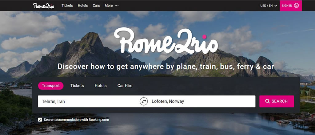 وب سایت Rom2Rio